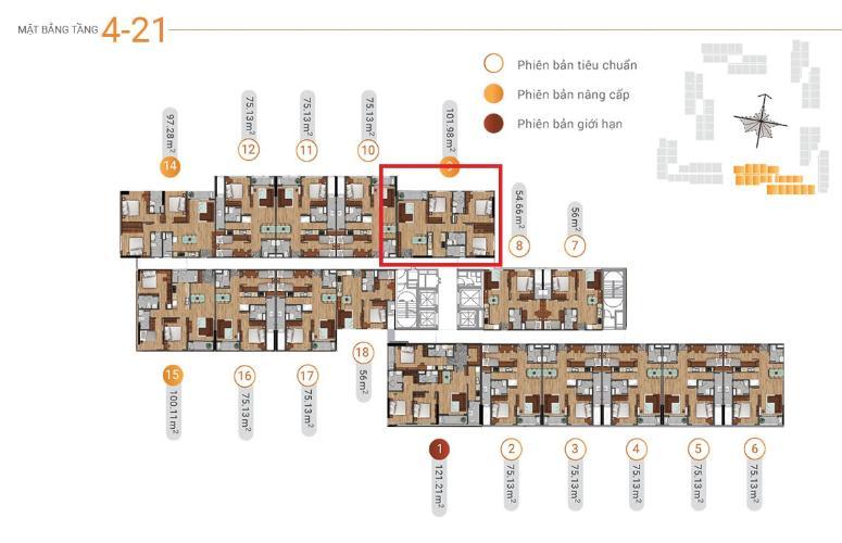 Layout Akari City Căn hộ 3 phòng ngủ Akari City tầng trung, view mát mẻ.