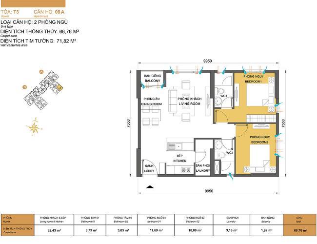 Mặt bằng căn hộ 2 phòng ngủ Căn hộ Masteri Thảo Điền 2 phòng ngủ tầng cao T3 hướng Tây Nam