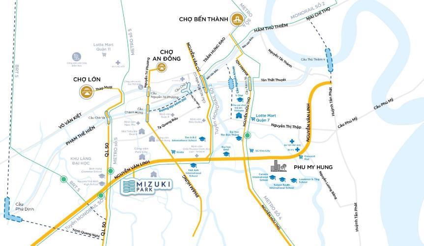 sơ đồ vị trí dự án mizuki park Căn hộ Mizuki Park tầng trung, view cây xanh thoáng mát.