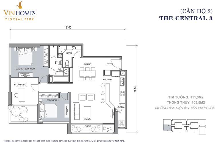 Căn hộ 3 phòng ngủ mã căn 02 Căn hộ Vinhomes Central Park tầng cao hướng Tây tháp Central 3