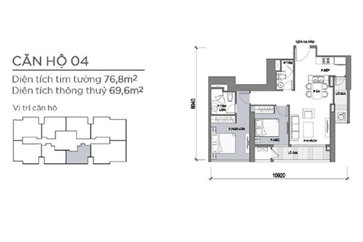 Mặt bằng căn hộ 2 phòng ngủ Căn hộ Vinhomes Central Park 2 phòng ngủ tầng cao P5 view sông
