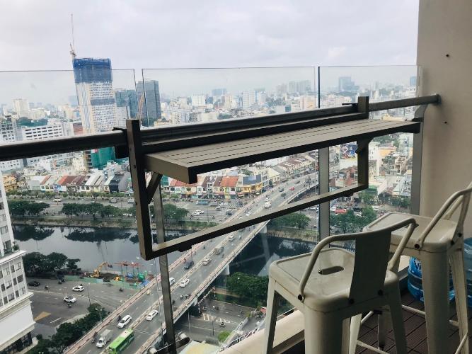 Ban công Masteri Millennium Quận 4 Căn hộ Masteri Millennium tầng cao, view thành phố sầm uất.