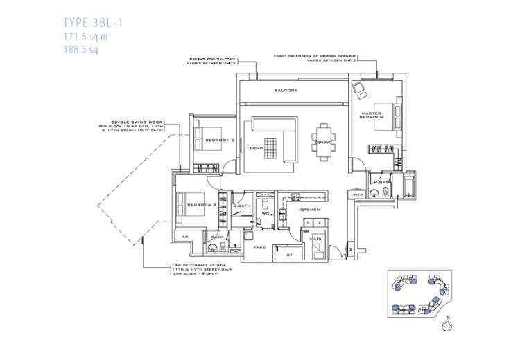 Mặt bằng căn hộ 3 phòng ngủ Căn hộ Estella An Phú tầng trung, view đẹp, thiết kế sang trọng
