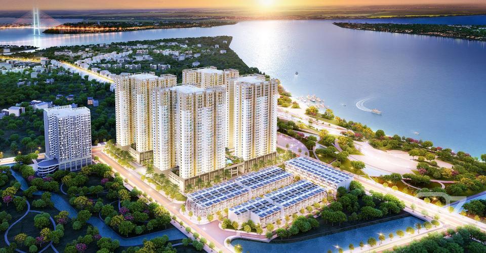 Phối cảnh dự án Q7 SAIGON RIVERSIDE Bán căn hộ Q7 Saigon Riverside 2PN, DT 69m2, ban công Tây Bắc, chưa bàn giao