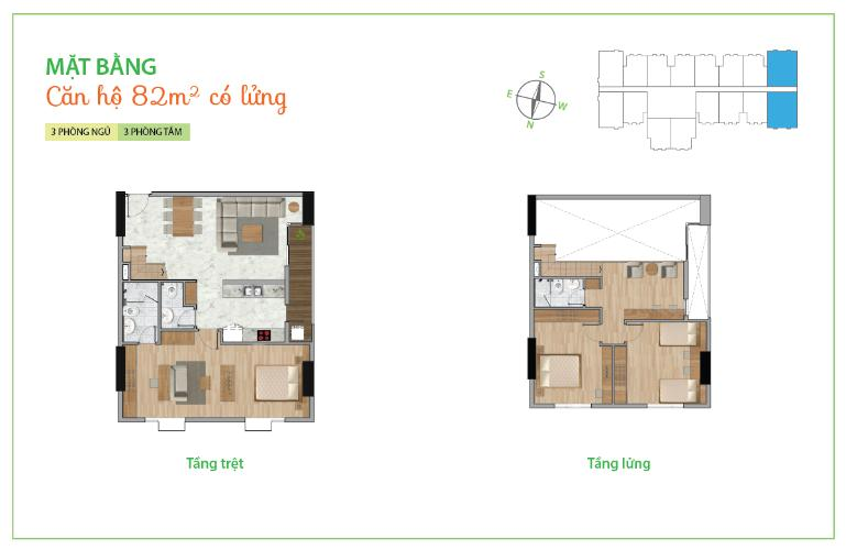 Mặt bằng căn hộ 3 phòng ngủ Căn góc La Astoria Quận 2 có lửng, tầng cao, đầy đủ nội thất