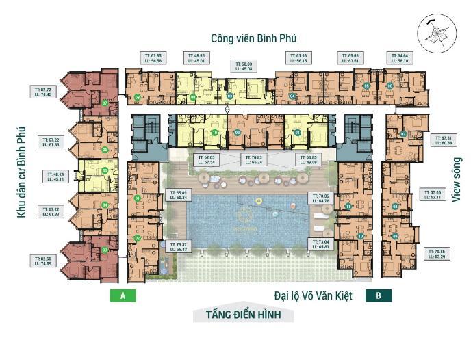 Layout tầng căn hộ Asiana Capella, Quận 6 Căn hộ Asiana Capella hướng cửa chính Tây Bắc, nội thất cơ bản.