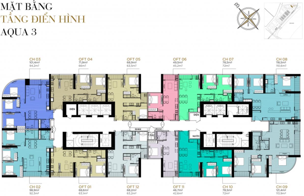 mat-bang-can-ho-aqua-3-vinhomes-golden-river-tang-2-22-e1460063646924 Cho thuê căn hộ Vinhomes Golden River 2PN, diện tích 73m2, đầy đủ nội thất, view thành phố rộng thoáng