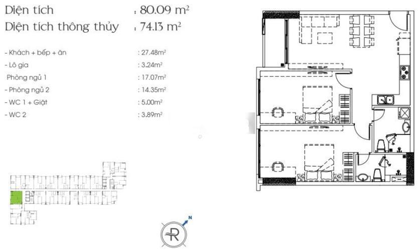 Layout căn hộ Riva Park Căn hộ Riva Park tầng trung đầy đủ nội thất, màu sắc trung tính.