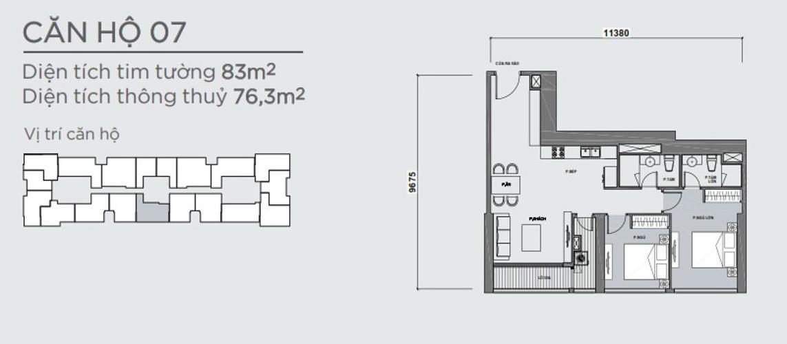 Mặt bằng căn hộ 2 phòng ngủ Officetel Vinhomes Central Park 2 phòng ngủ tầng cao P7 đầy đủ tiện nghi