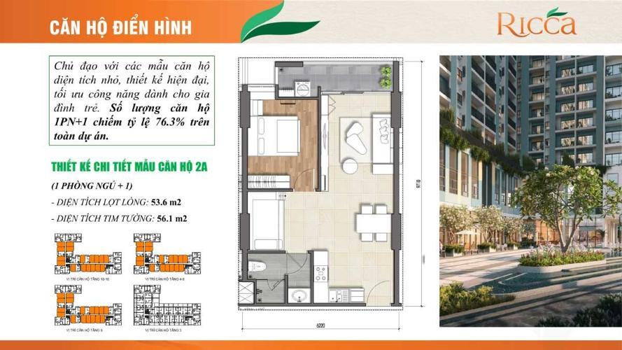 layout căn hộ Ricca quận 9 Căn hộ tầng 10 dự án Ricca nội thất cơ bản