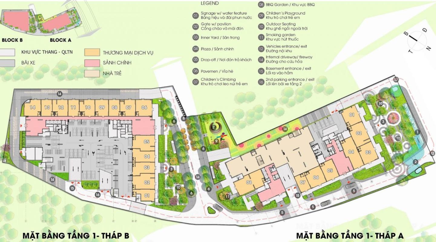 mặt bang 1 opal Bán căn hộ Opal Boulevard 2 phòng ngủ, diện tích 74m2, bàn giao hoàn thiện