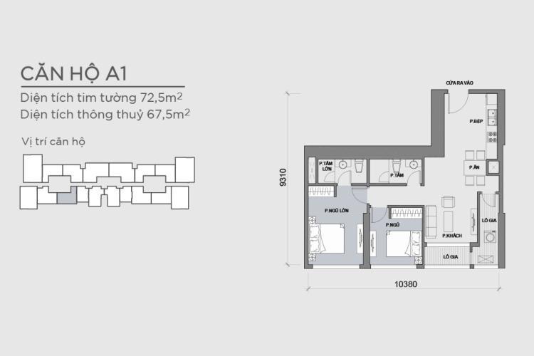 Căn hộ 2 phòng ngủ Căn hộ Vinhomes Central Park 2 phòng ngủ tầng cao P6 view Quận 1