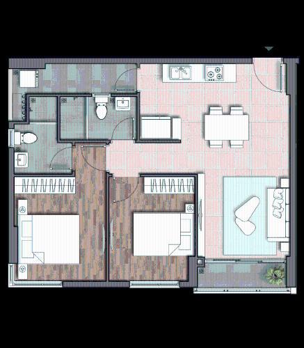 Căn họ D'Lusso tầng cao, 2 phòng ngủ, bàn giao kèm nội thất cơ bản.
