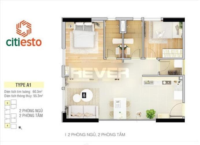 Căn hộ Citi Esto 2 phòng ngủ 59m2 nội thất cơ bản