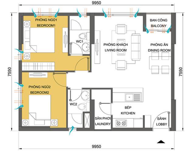 Căn hộ 2 phòng ngủ Căn góc Masteri Thảo Điền 2 phòng ngủ tầng trung T3 ful nội thất
