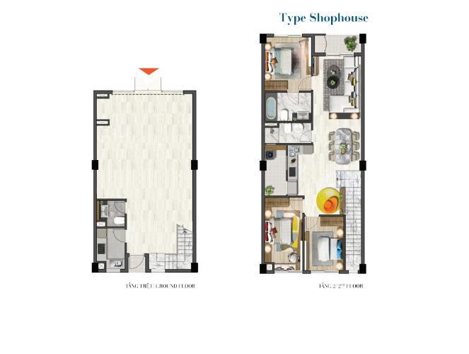 layout Saigon South Residence Cho thuê Shop-house hướng Tây, không nội thất Saigon South Residence