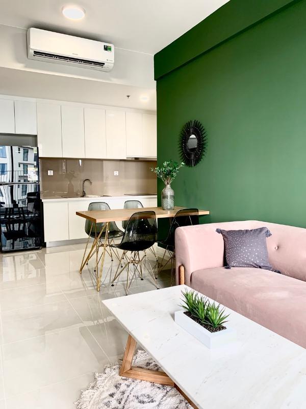 Phòng khách, phòng bếp, bàn ăn Cho thuê căn hộ Masteri An Phú 2 phòng ngủ, tháp A, đầy đủ nội thất cao cấp