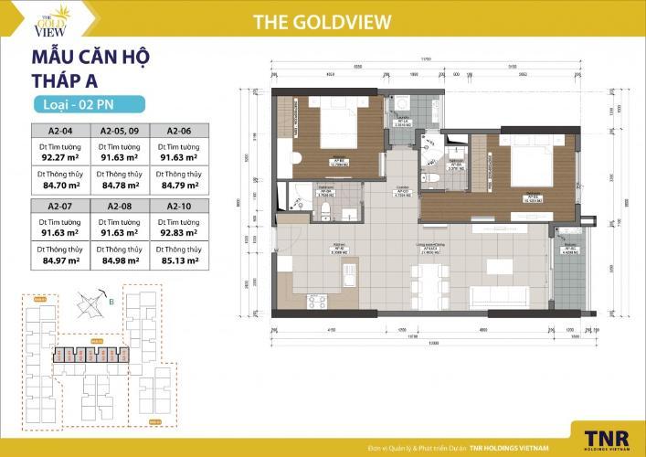 Căn hộ 2 phòng ngủ Căn hộ The Gold View 2 phòng ngủ tầng cao A2 view hướng sông