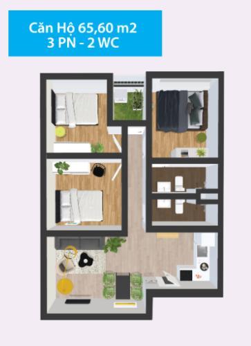 Mặt bằng căn hộ Căn hộ Topaz Home 2 tầng trung, bàn giao nội thất cơ bản.