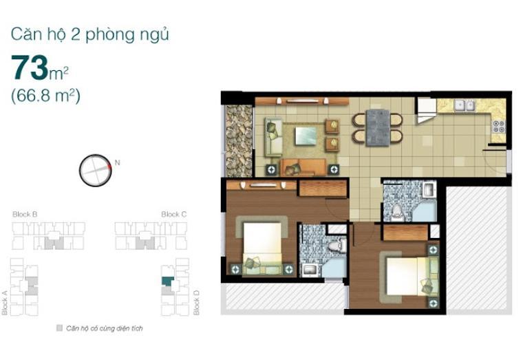 Mặt bằng căn hộ 2 phòng ngủ Căn hộ Lexington Residence 2 phòng ngủ tầng cao LD nội thất đầy đủ