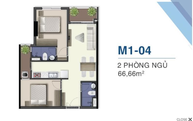Mặt bằng dự án Q7 Saigon Riverside Bán căn hộ Q7 Saigon Riverside tầng trung, 2 phòng ngủ, diện tích 66.6m2, thiết kế hiện đại