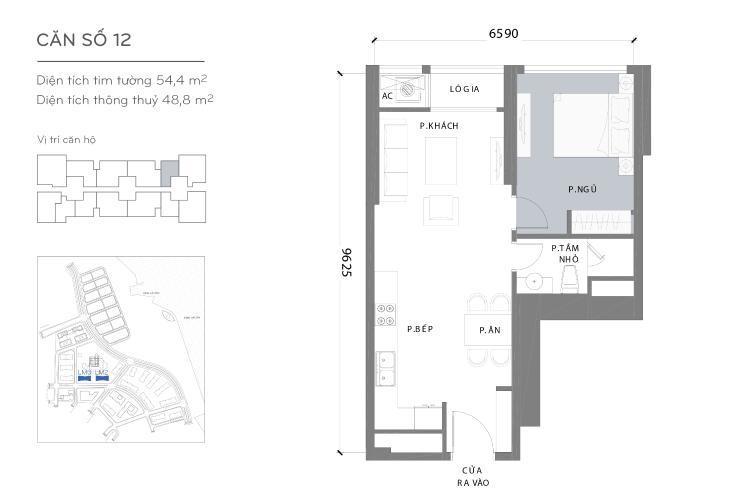 Mặt bằng căn hộ 1 phòng ngủ Căn hộ Vinhomes Central Park tầng cao Landmark 2 đầy đủ nội thất