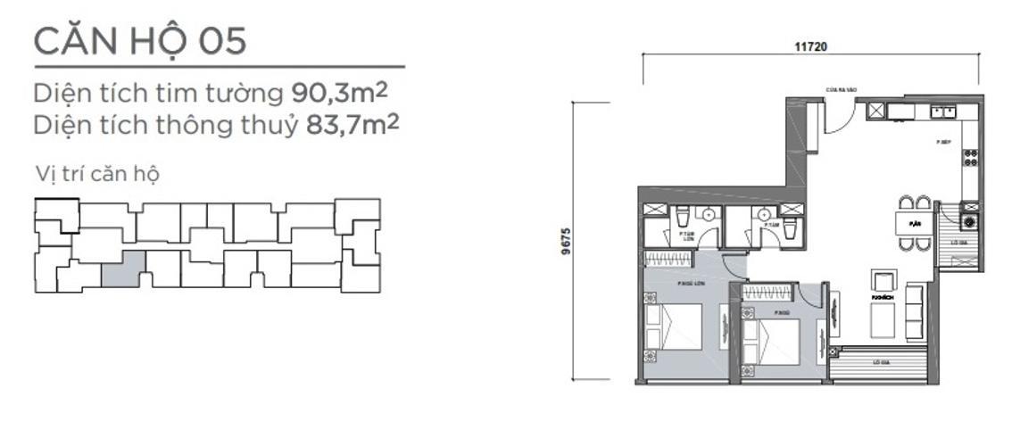 Mặt bằng căn hộ 2 phòng ngủ Căn hộ Vinhomes Central Park 2 phòng ngủ tầng cao P7 đầy đủ tiện nghi