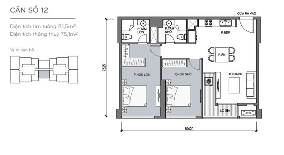 Mặt bằng căn hộ 2 phòng ngủ Officetel Vinhomes Central Park 2 phòng ngủ tầng cao L5 hướng Tây Nam