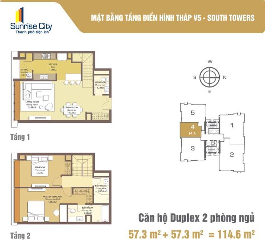 V5_04 Cho thuê căn hộ Duplex Sunrise City 2PN, tầng cao, đầy đủ nội thất, hướng Nam thoáng mát