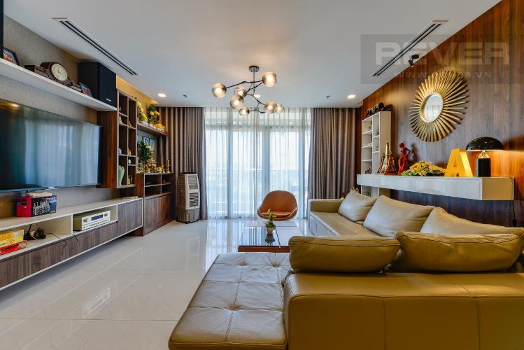 Phòng khách Cho thuê căn hộ Vinhomes Central Park tầng thấp, 4PN, đầy đủ nội thất