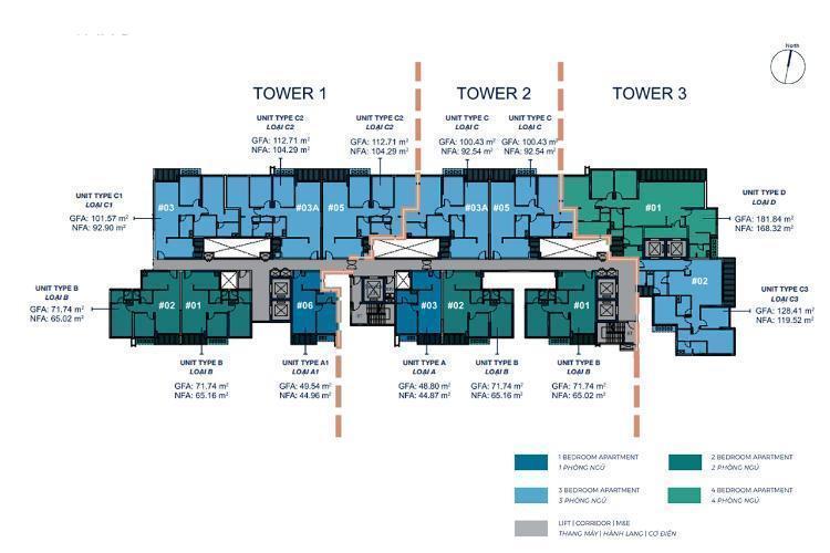Layout căn hộ Q2 Thao Dien Căn hộ Q2 THAO DIEN hướng Tây Bắc view thành phố, nội thất cơ bản.