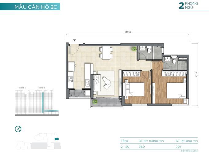 Layout D'Lusso Quận 2 Căn hộ D'Lusso tầng trung, 2 phòng ngủ, bàn giao nội thất cơ bản.