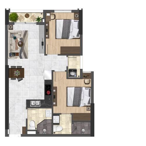 Layout căn hộ Saigon Asiana, Quận 6 Căn hộ tầng 5 chung cư Saigon Asiana nội thất cơ bản, view thoáng mát.