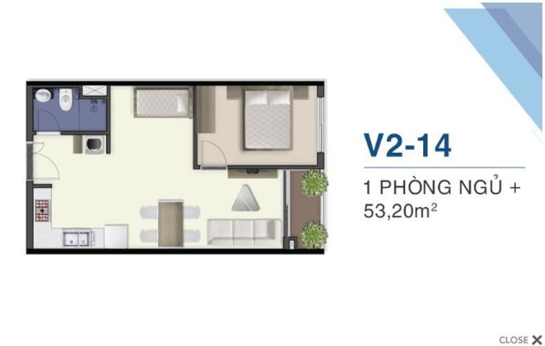 Mặt bằng căn hộ Q7 Saigon Riverside Bán căn hộ view sông Sài Gòn -  Q7 Saigon Riverside tầng trung, diện tích 53.2m2, nội thất cơ bản.
