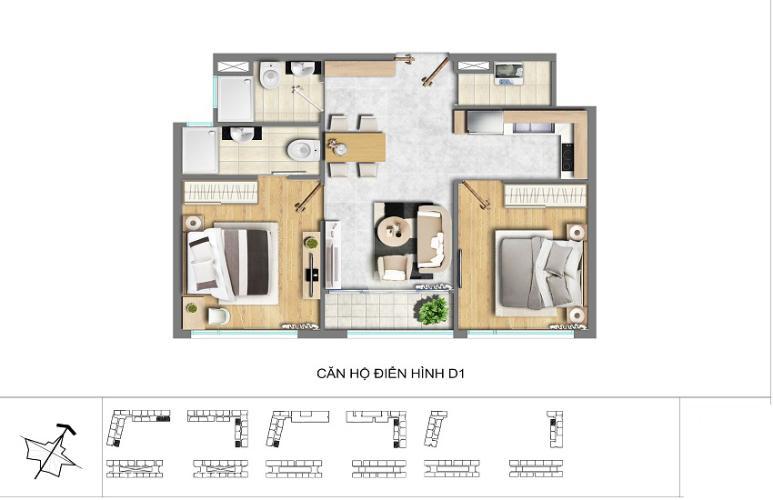 Mặt bằng căn hộ 2 phòng ngủ Căn hộ New City Thủ Thiêm 2 phòng ngủ tầng cao tháp BB hướng Tây Nam