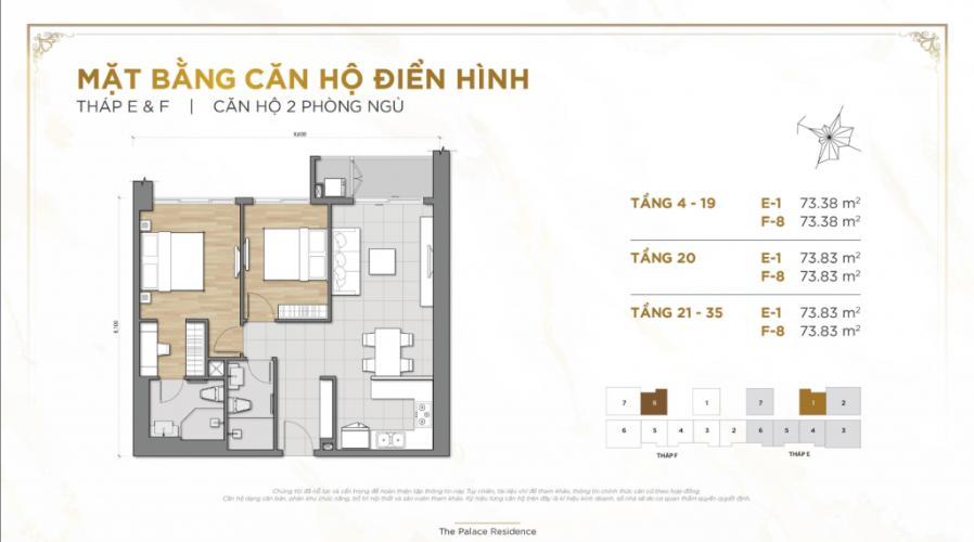 Căn hộ Palace Residence tầng 11 hướng Đông Bắc, 2 phòng ngủ.