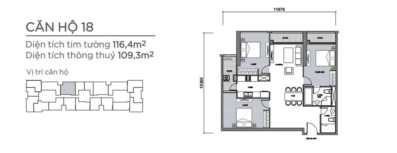 Mặt bằng căn hộ 3 phòng ngủ Căn hộ Vinhomes Central Park 3 phòng ngủ tầng trung P7 view hồ bơi