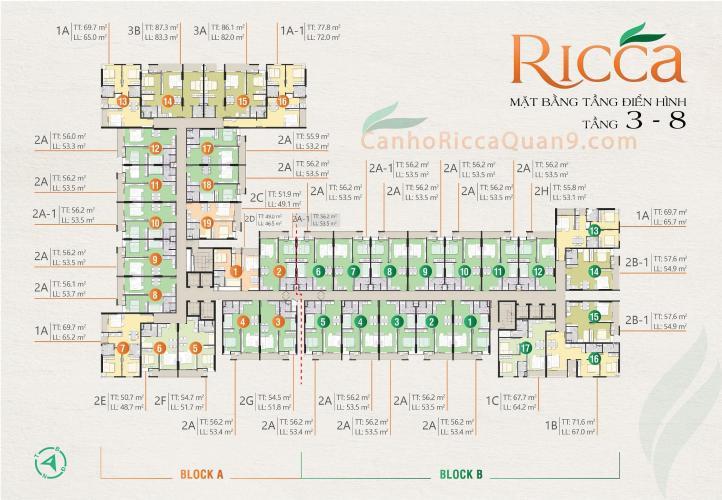 Mặt Bằng Tầng Căn Hộ Ricca Bán căn hộ Ricca 1PN+1, tầng thấp,, block A, không nội thất, chưa bàn giao