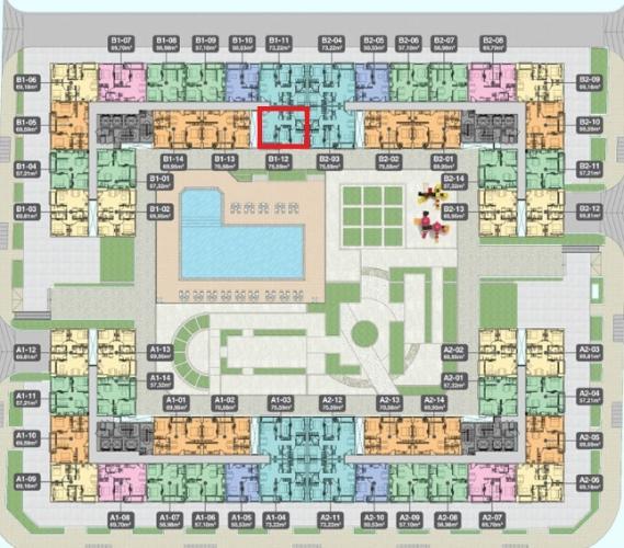 B1.12 Lo Bán căn hộ Q7 Boulevard 3 phòng ngủ diện tích 75.59m2. Ban công hướng Nam, view hồ bơi