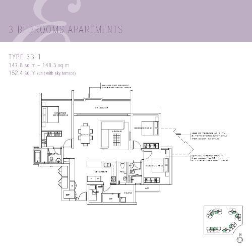 Mặt bằng căn hộ 3 phòng ngủ Căn hộ The Estella Residence tầng cao 3A, 3 phòng ngủ, đầy đủ nội thất