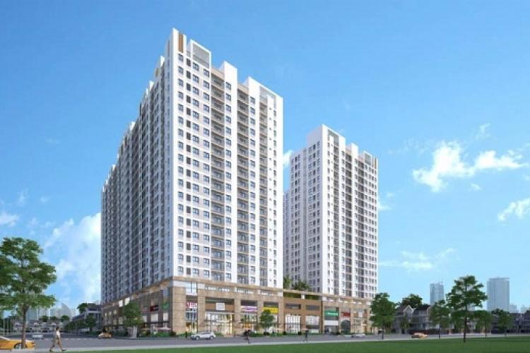Phối cảnh dự án Q7 Boulevard Bán căn hộ Q7 Boulevard tầng trung, 1 phòng ngủ, diện tích 50,5m2, thiết kế hiện đại, chưa bàn giao.