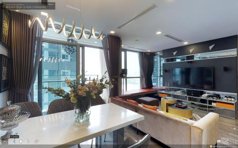 Bán căn hộ Vinhomes Central Park tầng cao tháp Park 3, 3PN 2WC, đầy đủ nội thất, view sông Sài Gòn