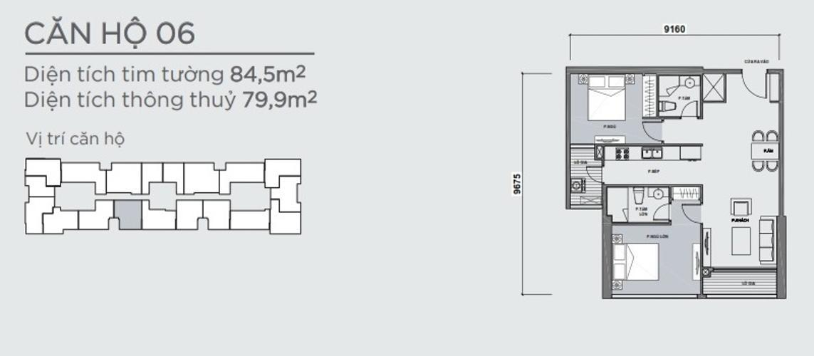 Mặt bằng căn hộ 2 phòng ngủ Officetel Vinhomes Central Park 2 phòng ngủ tầng trung P7 nhà trống