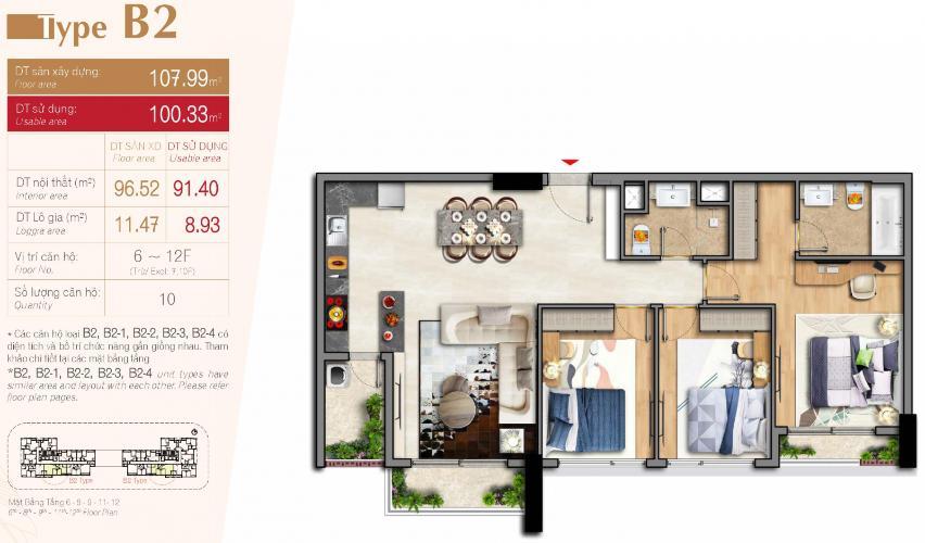 mặt bằng căn hộ urban hill Bán căn hộ 3 phòng ngủ, nội thất cơ bản Urban Hill