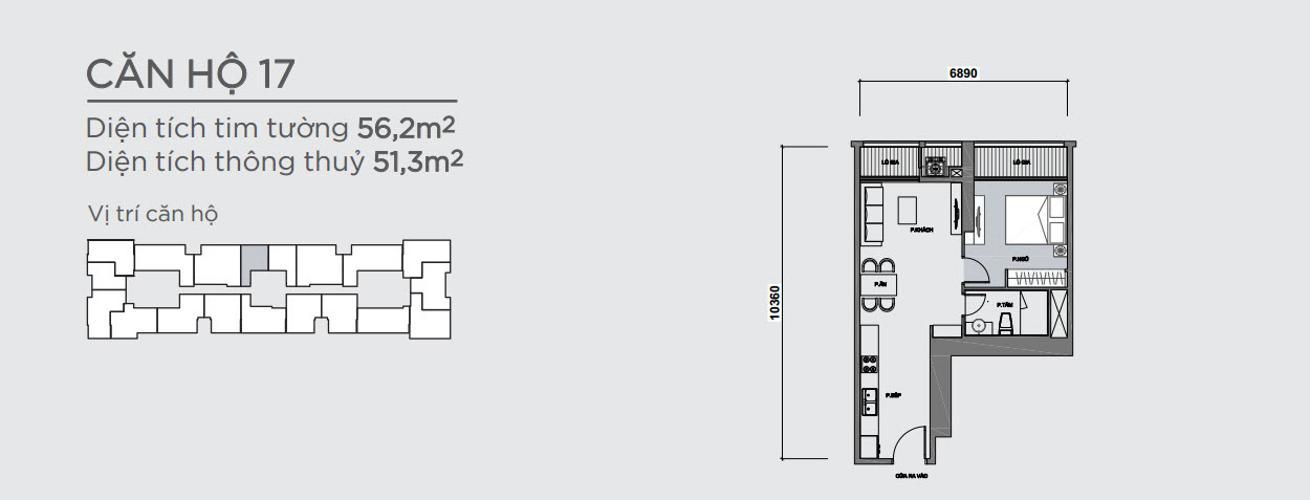 Mặt bằng căn hộ 1 phòng ngủ Officetel Vinhomes Central Park 1 phòng ngủ tầng trung P7 hướng Đông Bắc