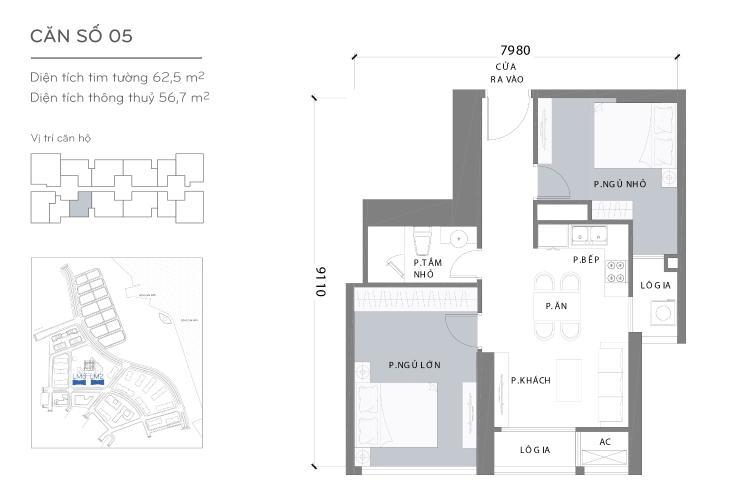 Mặt bằng căn hộ 2 phòng ngủ Căn hộ Vinhomes Central Park 2 phòng ngủ tầng cao L2 hướng Tây Nam