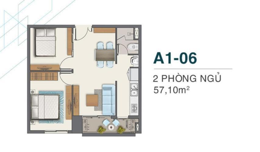 Layout Q7 Boulevard Căn hộ Q7 Boulevard nội thất cơ bản, 2 phòng ngủ, ban công rộng