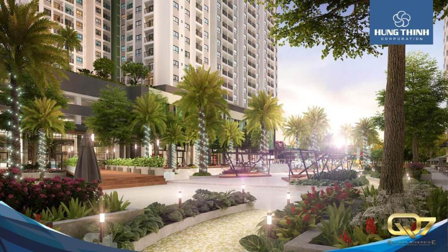 Công viên dự án Q7 Saigon Riverside Bán căn hộ Q7 Saigon Riverside nhìn về hồ bơi nội khu, nội thất cơ bản