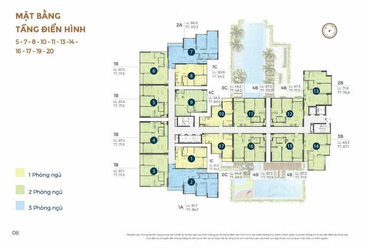 layout dự án Precia quận 2 Căn hộ Precia nội thất cơ bản, ban công thoáng mát.