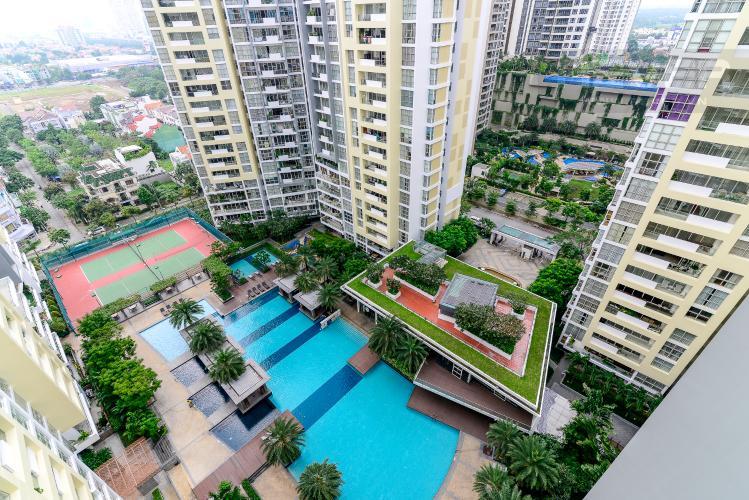 View Cho thuê căn hộ The Estella Residence 3PN, tầng trung, đầy đủ nội thất, view hồ bơi và Landmark 81